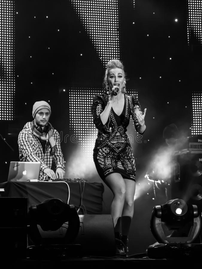 Annes Anna Constantin. The singer Annes Anna Constantin at New Years Eve 2014 concert organized by District 3, Bucharest royalty free stock image