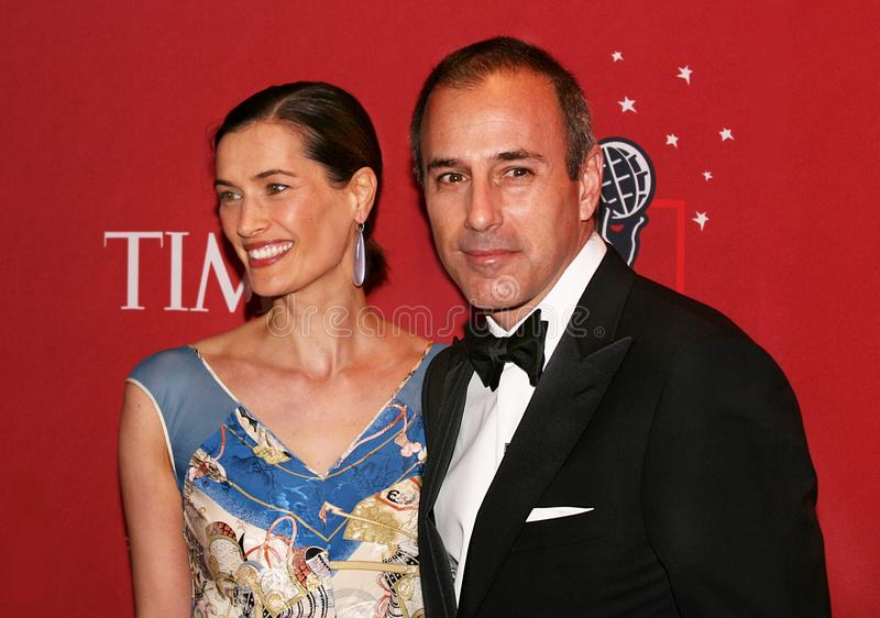Annette Rocque and Matt Lauer. Then NBC Today Show anchor Matt Lauer and wife Annette Rocque arrive on the red carpet inside the Time Warner Center in Manhattan royalty free stock photography