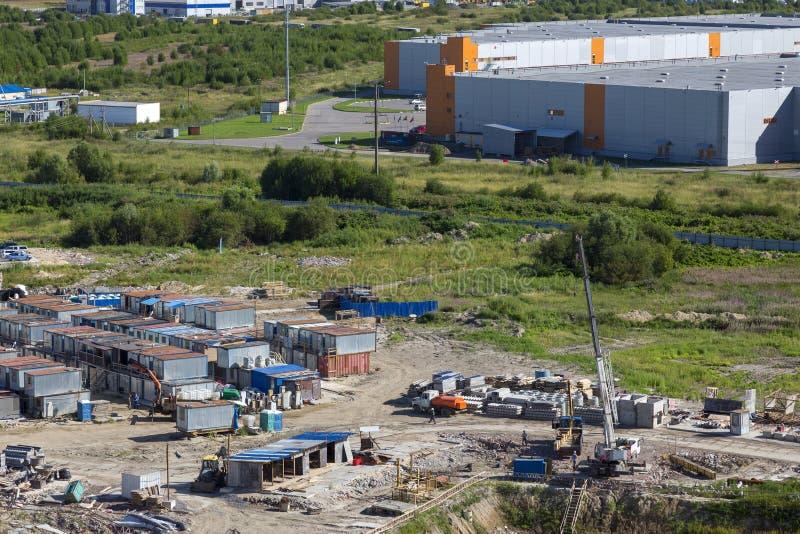 Annexes provisoires sur le chantier de construction photographie stock