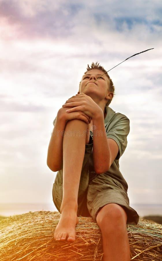 13 anni del ragazzo su una balla di fieno nel campo fotografie stock libere da diritti