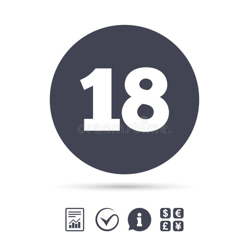 18 anni del segno Contenuto degli adulti illustrazione di stock