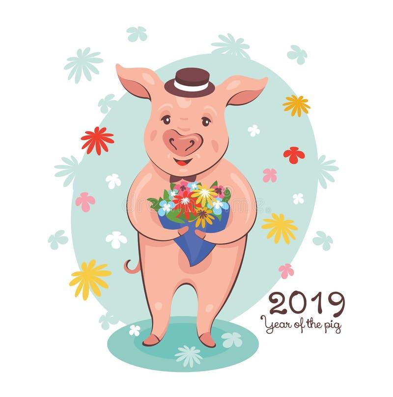 2019 anni della cartolina d'auguri del maiale illustrazione vettoriale