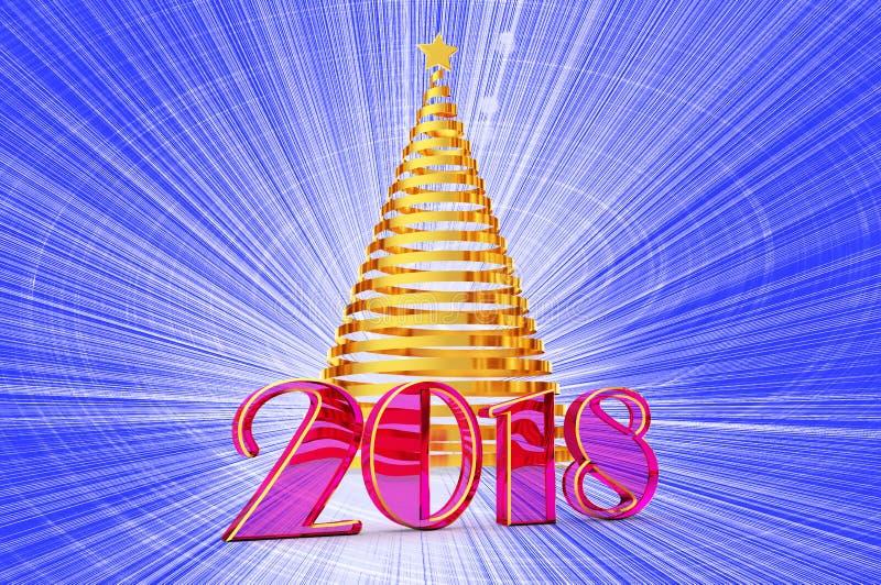 2018 anni di albero di Natale dal nastro brillante con una stella d'oro, elementi dell'oro del modello per la vostra carta di reg illustrazione di stock