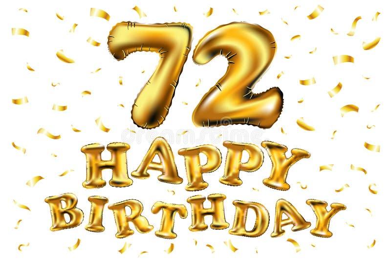 72 anni di anniversario, celebrazione di gioia di buon compleanno illustrazione 3d con i palloni brillanti dell'oro & coriandoli  illustrazione di stock