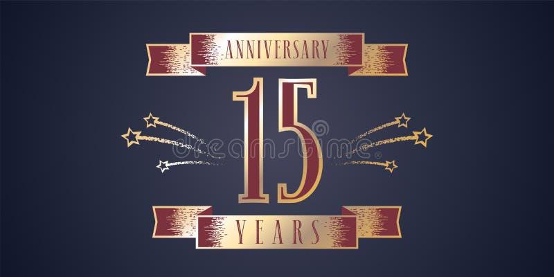 15 anni di anniversario di celebrazione di icona di vettore, logo royalty illustrazione gratis