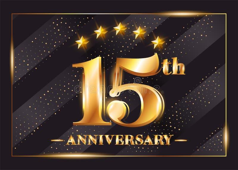 15 anni di anniversario di celebrazione di logo di vettore quindicesimo anniversario illustrazione di stock