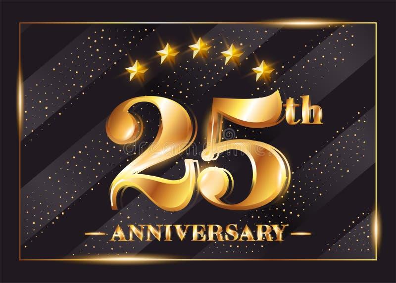 25 anni di anniversario di celebrazione di logo di vettore venticinquesimo anniversario illustrazione di stock