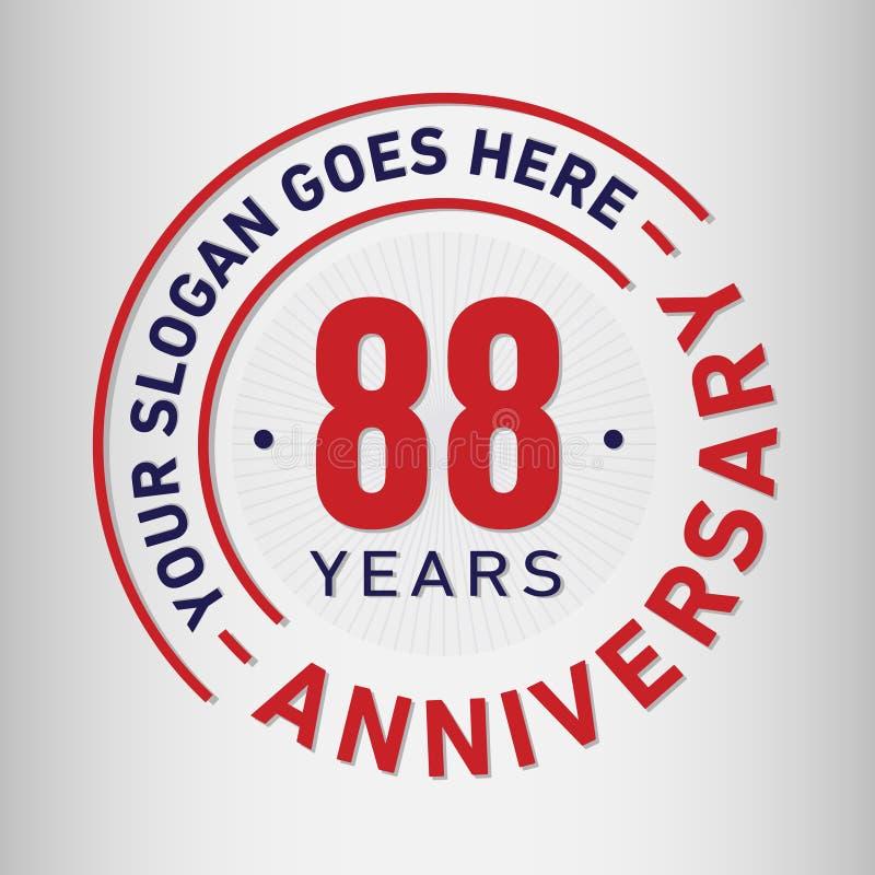 88 anni di anniversario di celebrazione di modello di progettazione Vettore ed illustrazione di anniversario Ottantotto anni di l illustrazione vettoriale