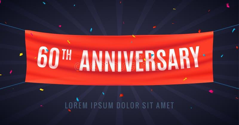 60 anni di anniversario di celebrazione di progettazione Evento bithday sessantesimo del partito della decorazione di anniversari illustrazione vettoriale