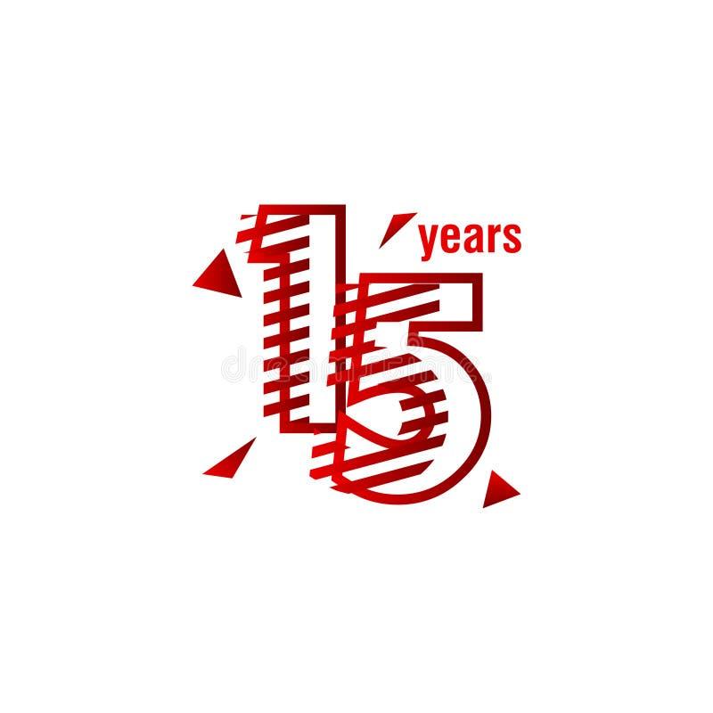 15 anni di anniversario di celebrazione di vettore del modello di illustrazione di progettazione illustrazione di stock