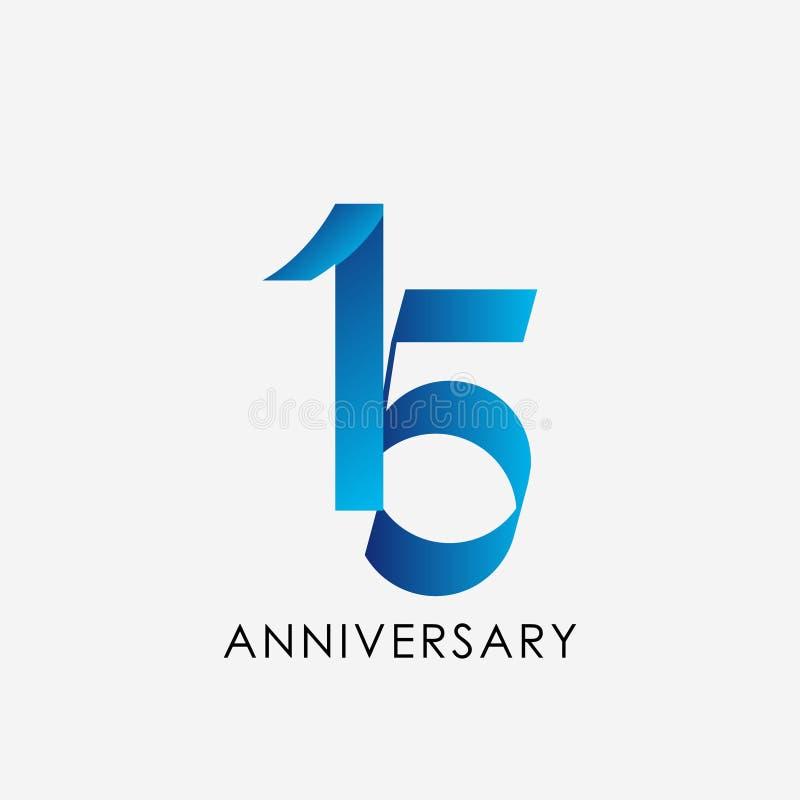15 anni di anniversario di celebrazione di vettore del modello di illustrazione di progettazione illustrazione vettoriale