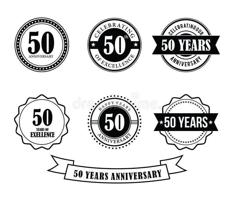 50 anni di anniversario del distintivo dell'emblema di vettore del bollo illustrazione di stock