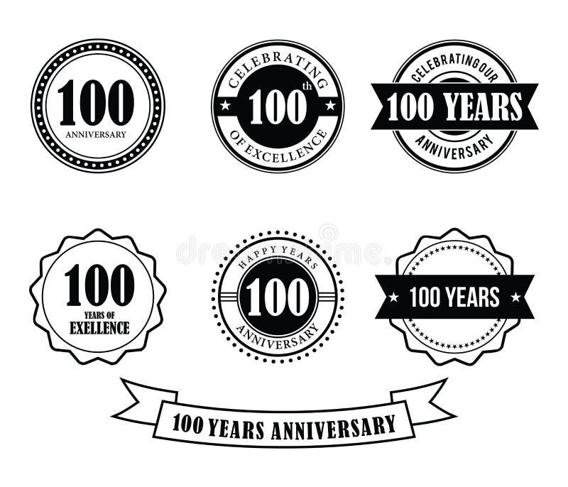 100 anni di anniversario del distintivo dell'emblema di vettore del bollo illustrazione di stock