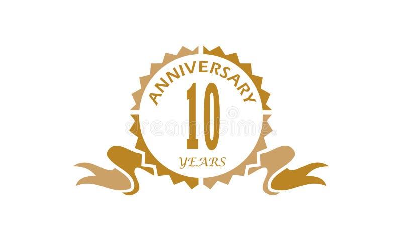 10 anni di anniversario del nastro royalty illustrazione gratis