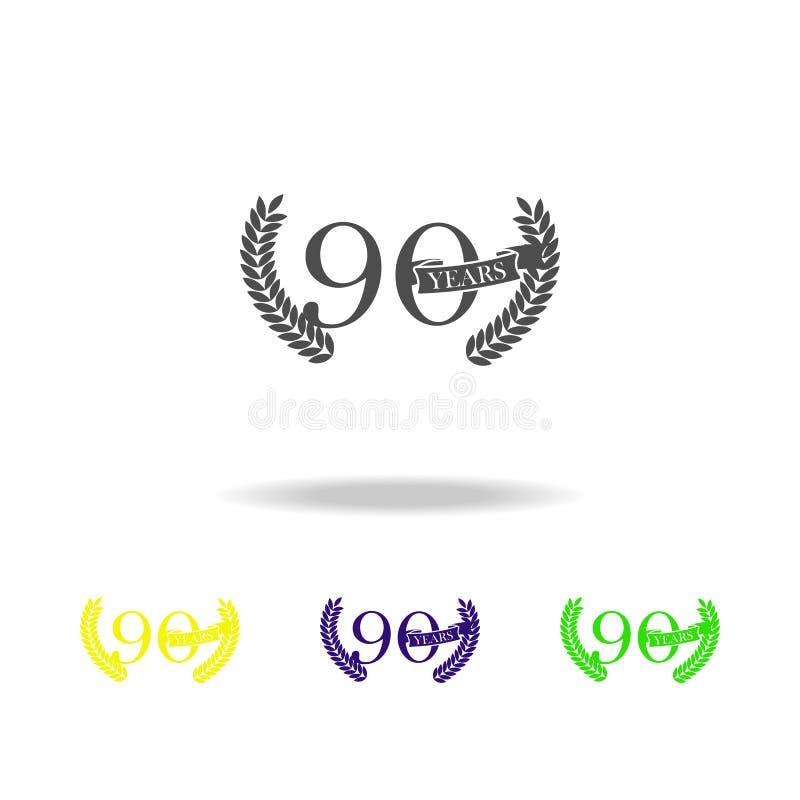 90 anni di anniversario del segno di icona di colore Elemento dell'icona di colore del segno di anniversario Segni ed icona per i illustrazione vettoriale