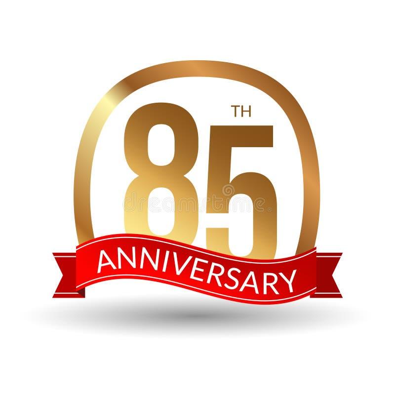 85 anni di anniversario di esperienza di etichetta dell'oro con il nastro rosso, illustrazione di vettore royalty illustrazione gratis
