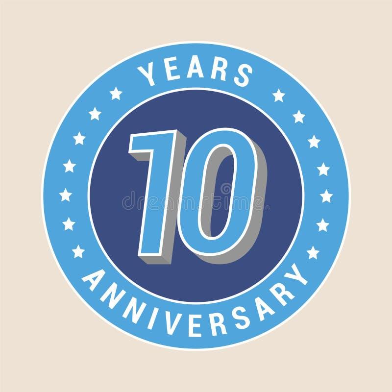 10 anni di anniversario di icona di vettore, emblema illustrazione vettoriale