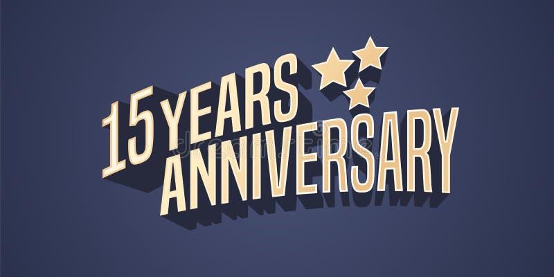 15 anni di anniversario di icona di vettore, logo illustrazione vettoriale