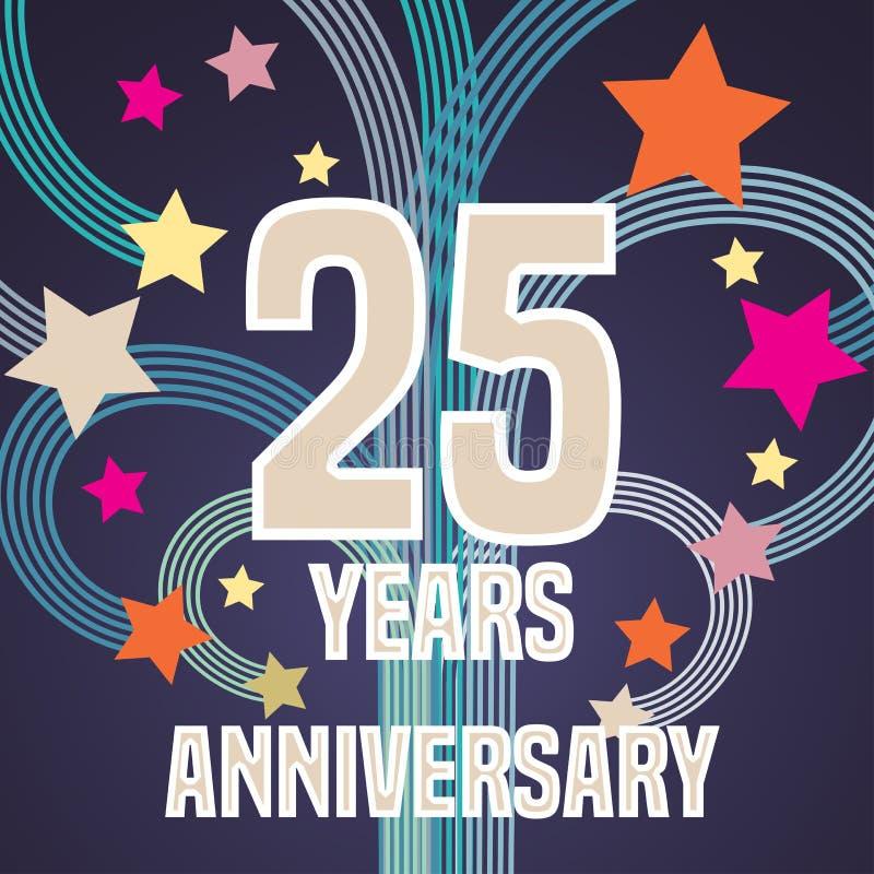 25 anni di anniversario di illustrazione di vettore, insegna, aletta di filatoio illustrazione vettoriale