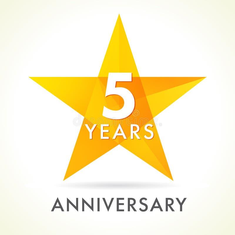 5 anni di anniversario di logo della stella illustrazione di stock