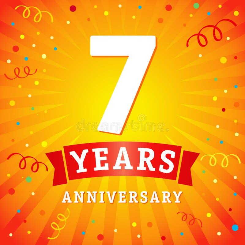 7 anni di anniversario di logo di carta di celebrazione illustrazione vettoriale