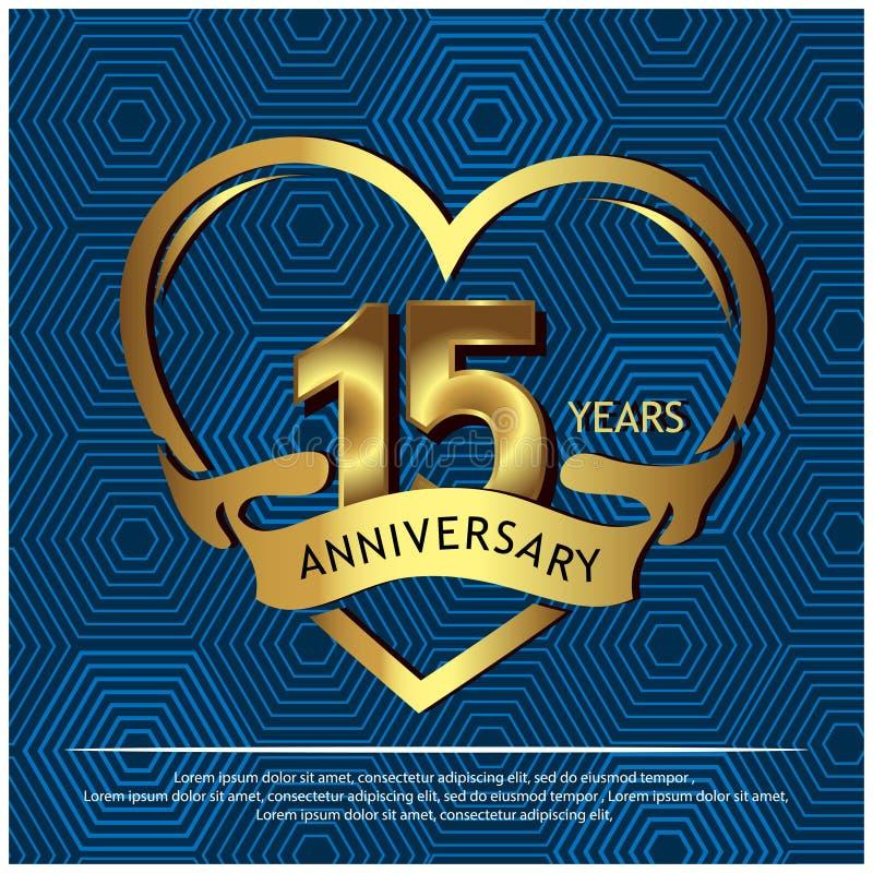 15 anni di anniversario dorato progettazione del modello di anniversario per il web, gioco, manifesto creativo, libretto, opuscol illustrazione vettoriale