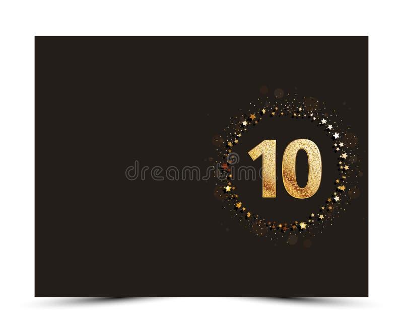 10 anni di anniversario hanno decorato il modello della carta invito/di saluto con gli elementi dell'oro royalty illustrazione gratis