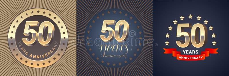 50 anni di anniversario di icona di vettore, insieme di logo illustrazione vettoriale