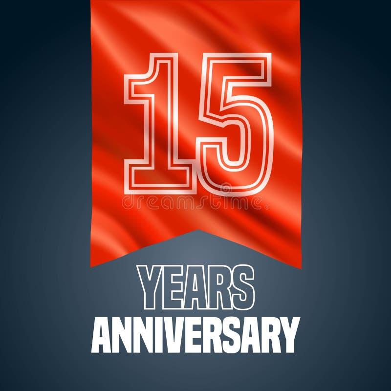 15 anni di anniversario di icona di vettore, logo illustrazione di stock
