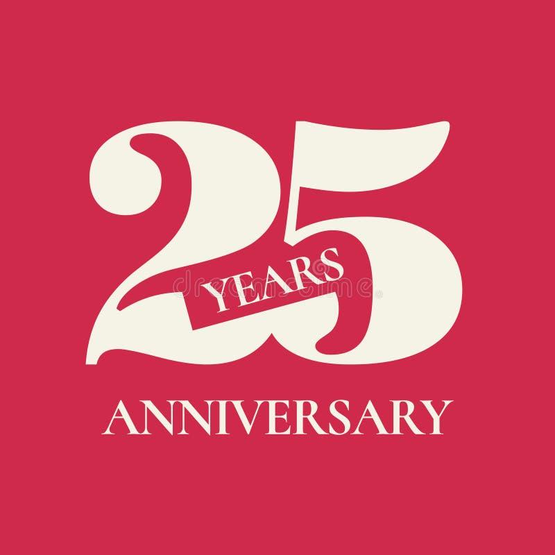 25 anni di anniversario di icona di vettore, logo illustrazione vettoriale