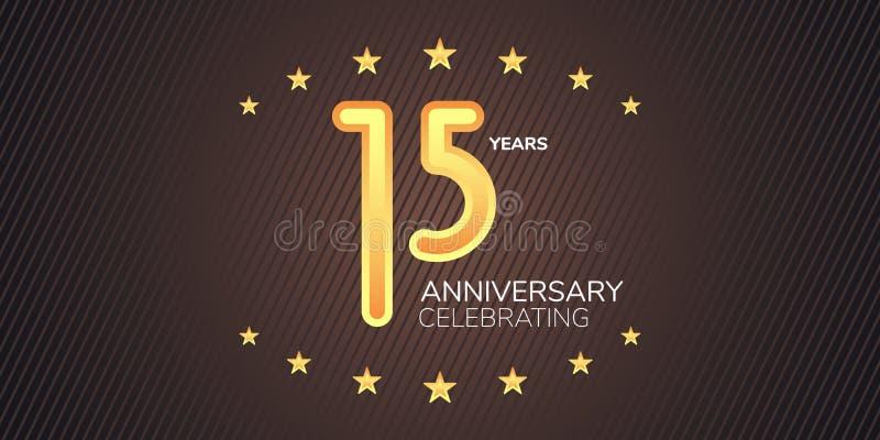 15 anni di anniversario di icona di vettore, logo Elemento di progettazione grafica con la cifra al neon dorata illustrazione vettoriale