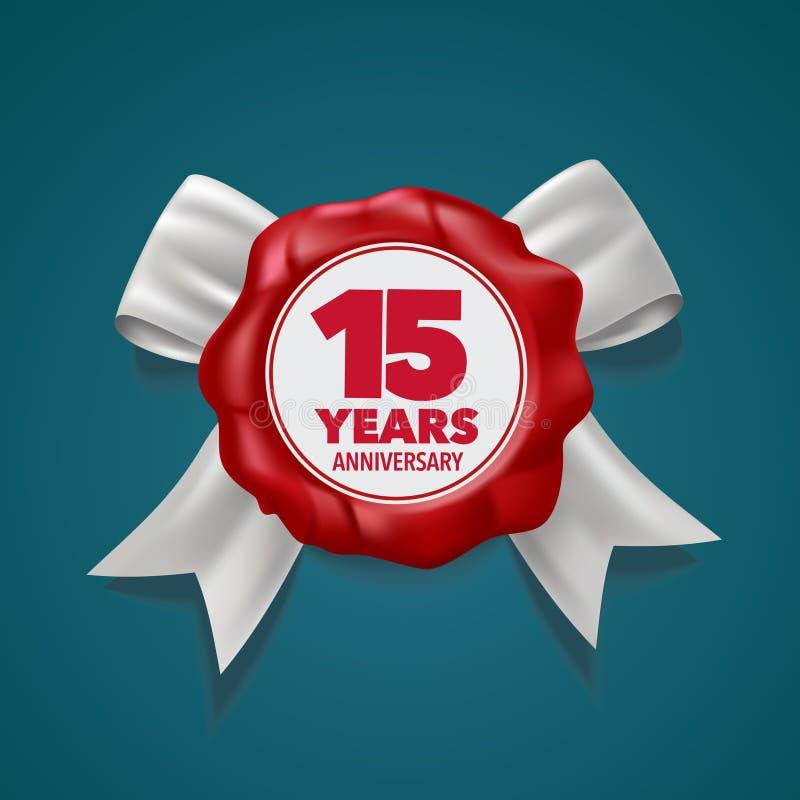 15 anni di anniversario di logo di vettore, icona elemento di progettazione del modello illustrazione di stock