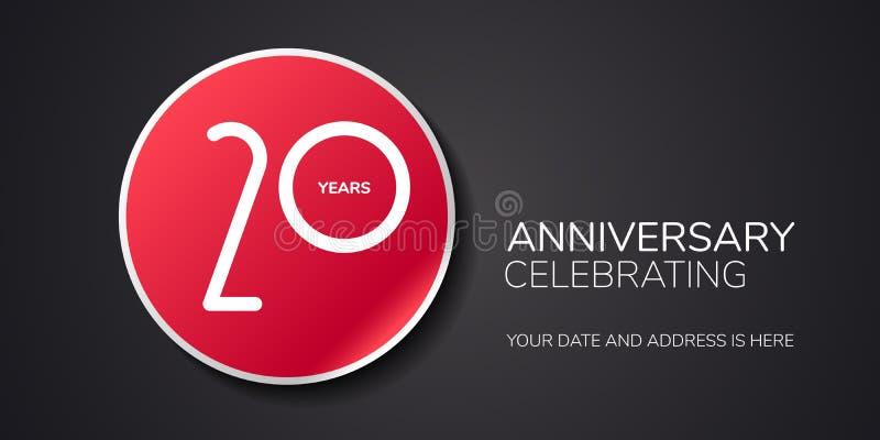 20 anni di anniversario di logo di vettore, icona Elemento di progettazione del modello con il numero illustrazione di stock