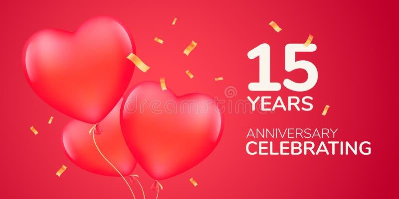 15 anni di anniversario di logo di vettore, icona Insegna del modello con gli aerostati rossi 3d royalty illustrazione gratis