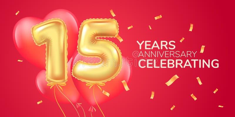 15 anni di anniversario di logo di vettore, icona Insegna del modello con il pallone caldo dell'aria del cuore illustrazione di stock
