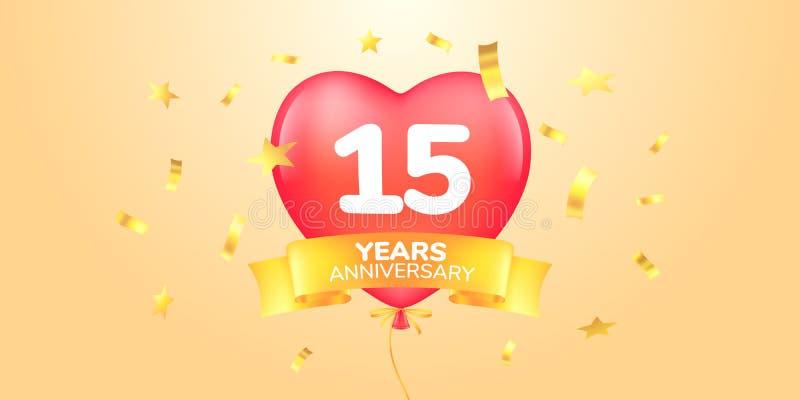 15 anni di anniversario di logo di vettore, icona Insegna del modello, simbolo con il pallone caldo dell'aria di forma del cuore illustrazione vettoriale