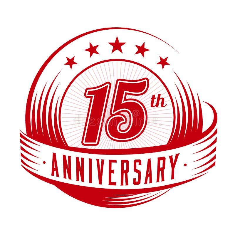 15 anni di anniversario di modello di progettazione quindicesimo anniversario che celebra progettazione di logo logo 15years royalty illustrazione gratis