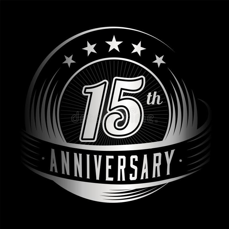 15 anni di anniversario di modello di progettazione quindicesimo anniversario che celebra progettazione di logo logo 15years illustrazione di stock