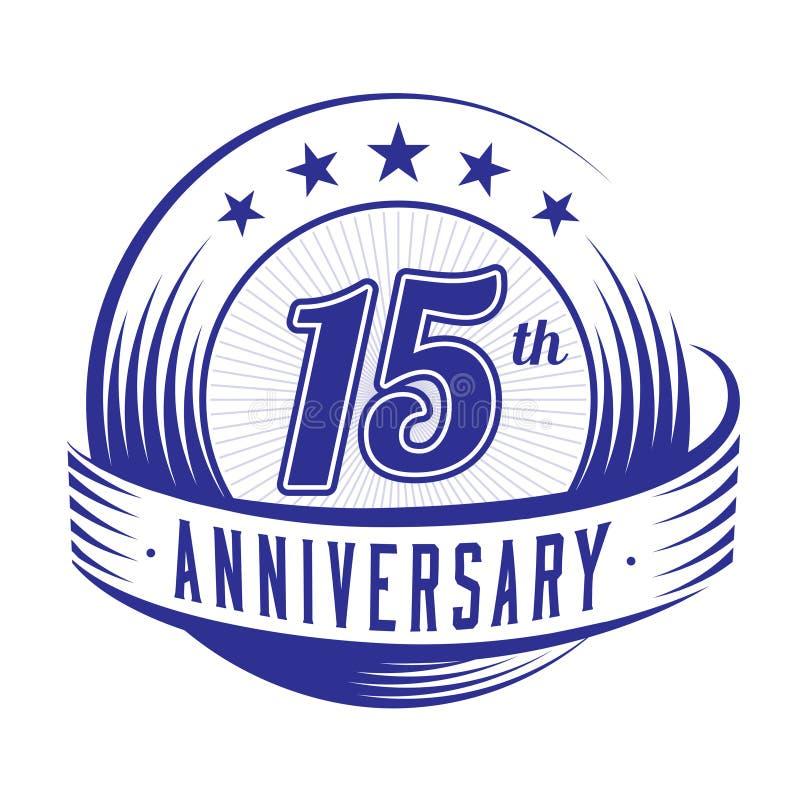 15 anni di anniversario di modello di progettazione quindicesimo anniversario che celebra progettazione di logo logo 15years illustrazione vettoriale