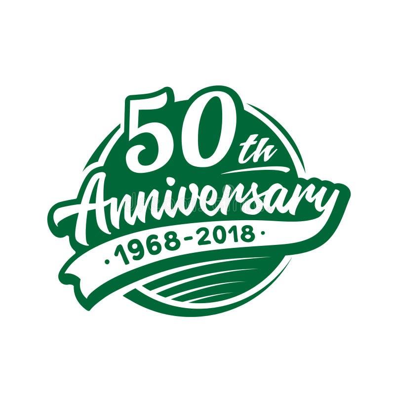 50 anni di anniversario di modello di progettazione Vettore ed illustrazione cinquantesimo logo illustrazione vettoriale
