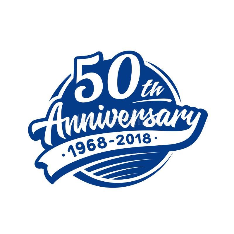 50 anni di anniversario di modello di progettazione Vettore ed illustrazione cinquantesimo logo royalty illustrazione gratis