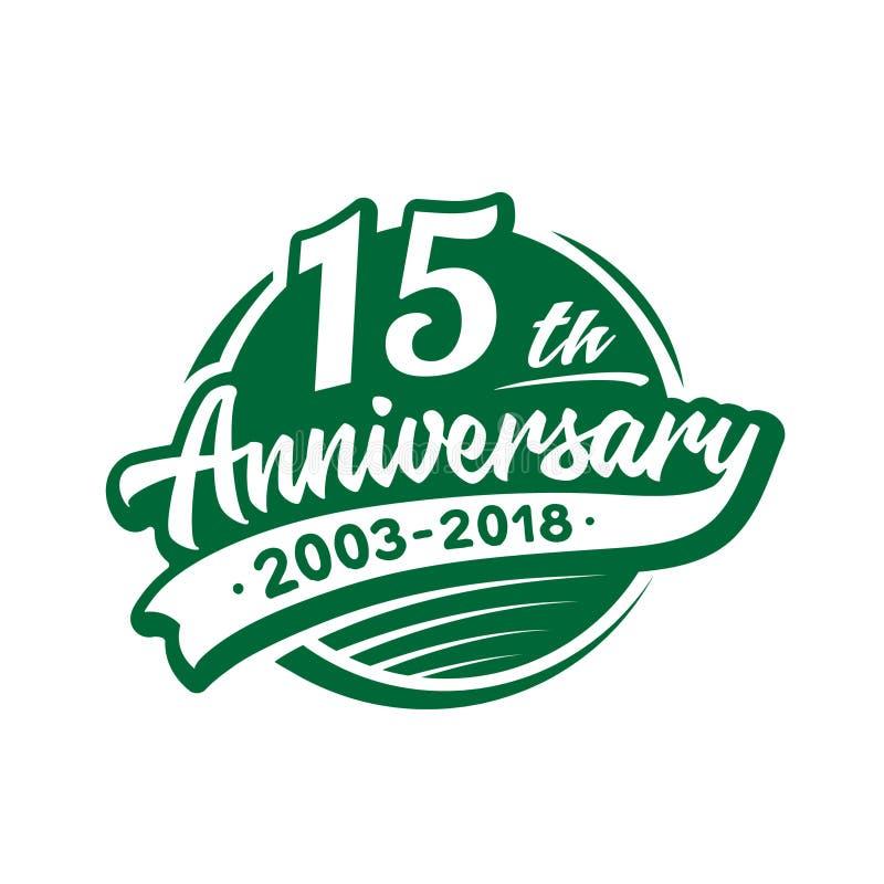 15 anni di anniversario di modello di progettazione Vettore ed illustrazione quindicesimo logo illustrazione vettoriale