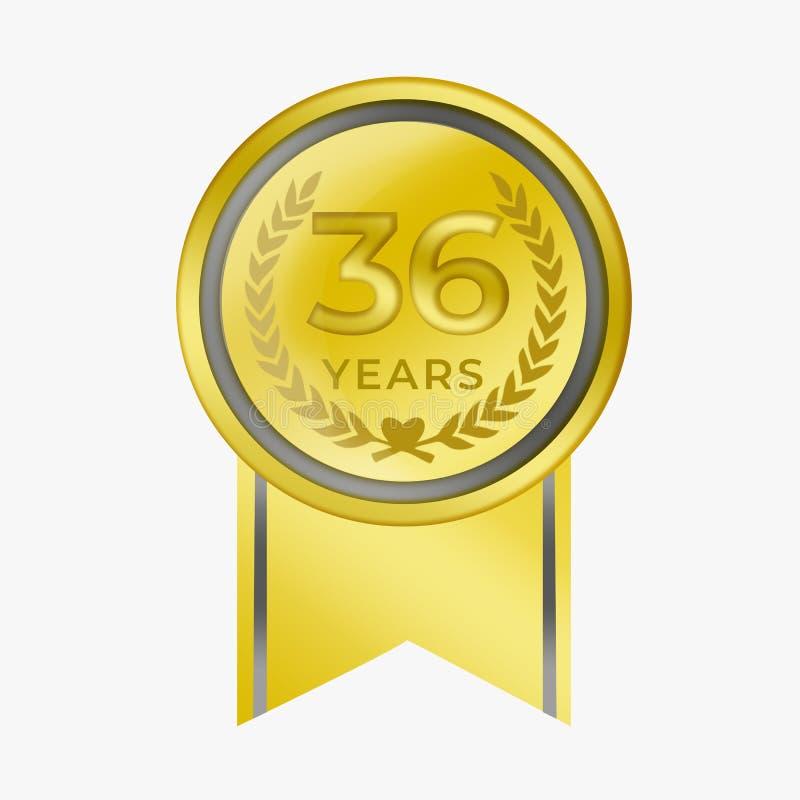 36 anni di anniversario di moneta dell'oro di certificazione di premio di congratulazione con bianco del fondo immagini stock