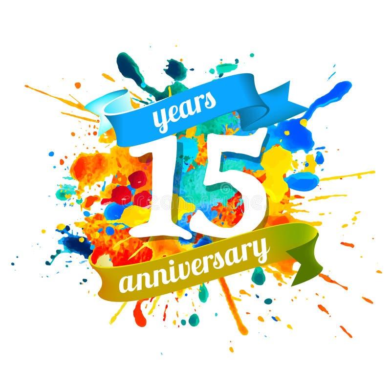 15 anni di anniversario Pittura della spruzzata illustrazione vettoriale