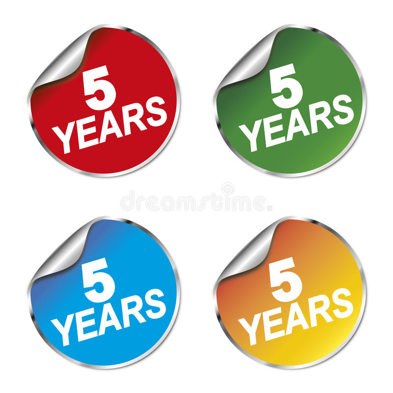 5 anni di autoadesivo di anniversario illustrazione di stock