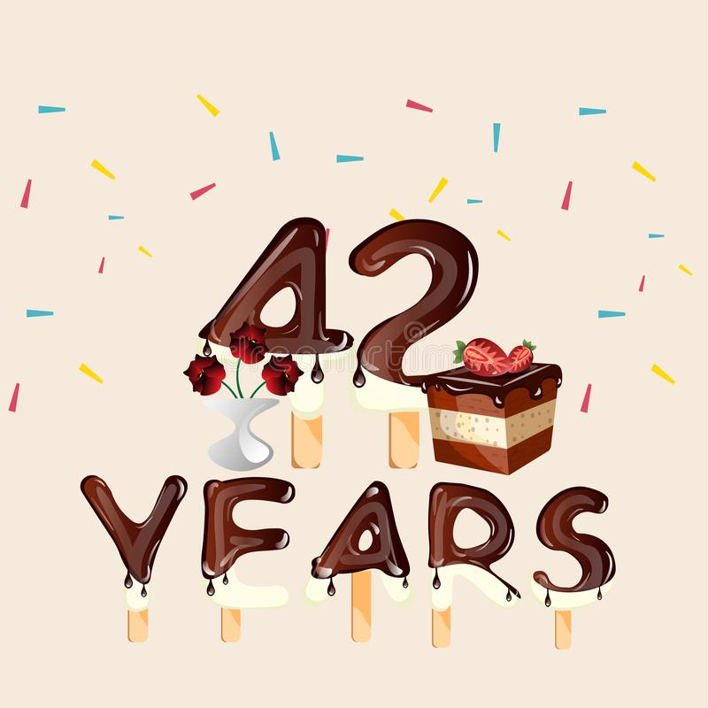 Auguri Buon Compleanno 42 Anni.42 Anni Di Biglietto Di Auguri Per Il Compleanno Felice