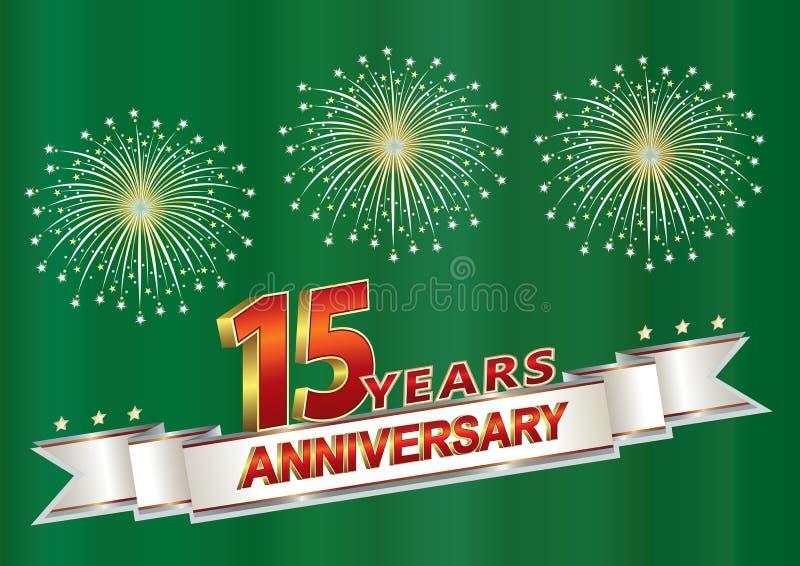 15 anni di cartolina di anniversario con i fuochi d'artificio su un verde illustrazione di stock