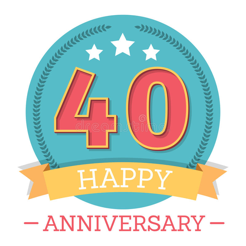 40 anni di emblema di anniversario illustrazione vettoriale