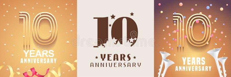 10 anni di insieme di anniversario dell'icona di vettore, simbolo Elemento di disegno grafico royalty illustrazione gratis