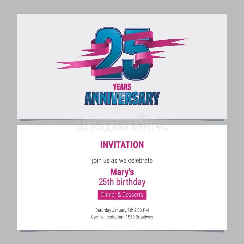 25 anni di invito di anniversario all'illustrazione di vettore di celebrazione royalty illustrazione gratis